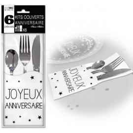 6 Kits couverts joyeux anniversaire - Blanc