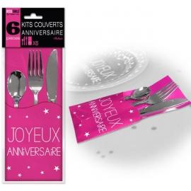 6 Kits couverts joyeux anniversaire - Fucshia