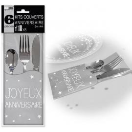 6 Kits couverts joyeux anniversaire - Gris