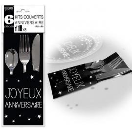 6 Kits couverts joyeux anniversaire - Noir