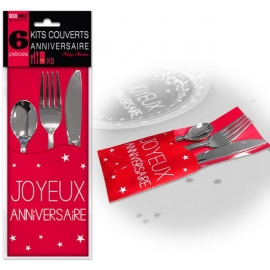 6 Kits couverts joyeux anniversaire - Rouge