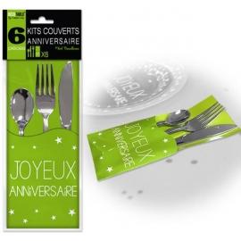6 Kits couverts joyeux anniversaire - Vert