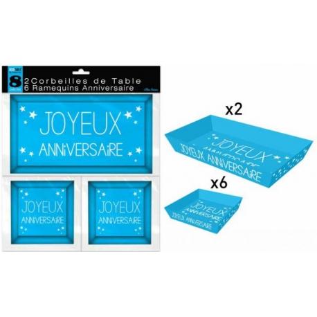 8 Ramequins joyeux anniversaire - Bleu