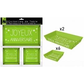 8 Ramequins joyeux anniversaire - Vert