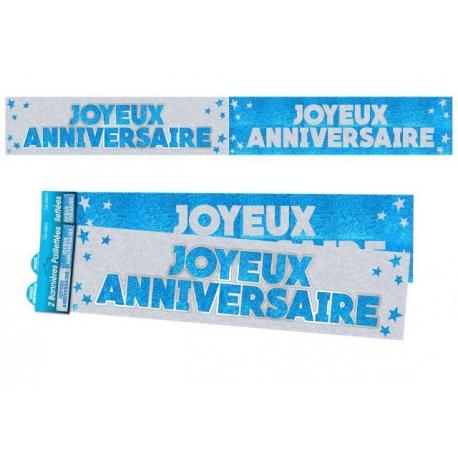 Bannière Joyeux anniversaire paillettes - Bleu