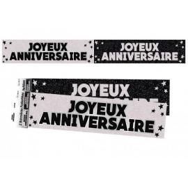 Bannière Joyeux anniversaire paillettes - Noir