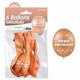 6 ballons joyeux anniversaire - Cuivre