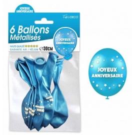 6 ballons joyeux anniversaire - Bleu