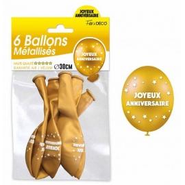 6 ballons joyeux anniversaire - Or