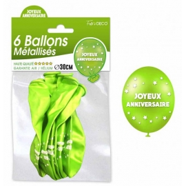 6 ballons joyeux anniversaire - Vert