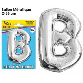 Ballon métallique argent 36cm - Lettre B