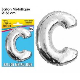 Ballon métallique argent 36cm - Lettre C