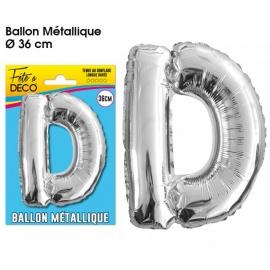 Ballon métallique argent 36cm - Lettre D
