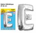 Ballon métallique argent 36cm - Lettre E