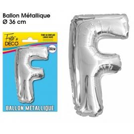 Ballon métallique argent 36cm - Lettre F