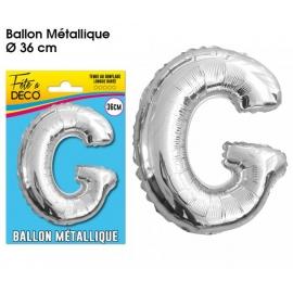 Ballon métallique argent 36cm - Lettre G