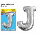 Ballon métallique argent 36cm - Lettre J
