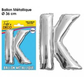 Ballon métallique argent 36cm - Lettre K