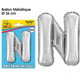 Ballon métallique argent 36cm - Lettre N