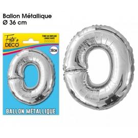 Ballon métallique argent 36cm - Lettre O