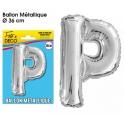 Ballon métallique argent 36cm - Lettre P