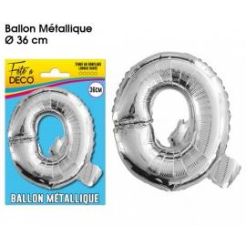 Ballon métallique argent 36cm - Lettre Q