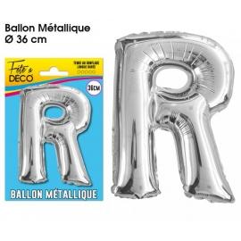 Ballon métallique argent 36cm - Lettre R