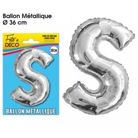 Ballon métallique argent 36cm - Lettre S