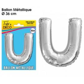 Ballon métallique argent 36cm - Lettre U