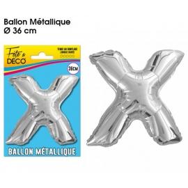 Ballon métallique argent 36cm - Lettre X