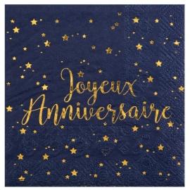 20 serviettes joyeux anniversaire métallisé - Or