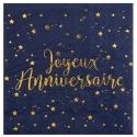 20 serviettes joyeux anniversaire métallisé - Bleu