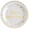 10 Assiettes Joyeux Anniversaire métallisé - Or