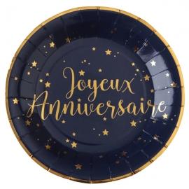 10 Assiettes Joyeux Anniversaire métallisé - Bleu