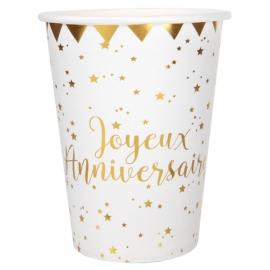 10 Gobelets Joyeux Anniversaire métallisé - Or