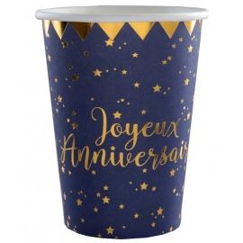 10 Gobelets Joyeux Anniversaire métallisé - Bleu