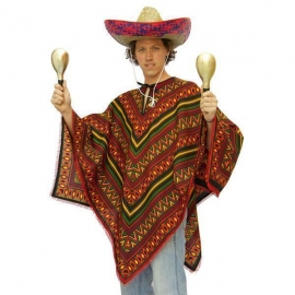 Poncho mexicain bleu - déguisement