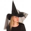 Chapeau sorcière satin noir