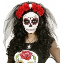 Serre tête Day of the dead roses rouges et voile