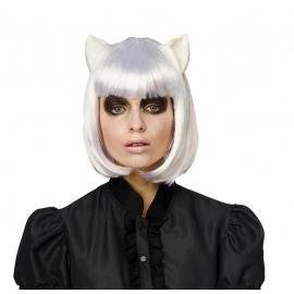 Perruque oreilles de chat blanc