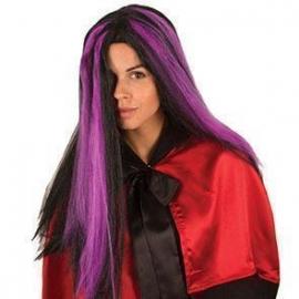 Perruque sorcière noire et violette