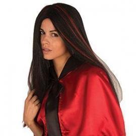 Perruque sorcière noire et rouge