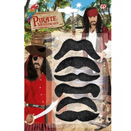 Set de 6 moustaches de pirate