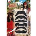 Set de 6 moustaches de pirate