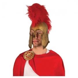 Casque latex romain avec plumes