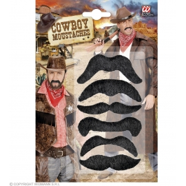 Set de 6 moustaches cowboy