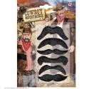 Set de 6 moustaches cowboy