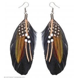 Boucles d'oreille plumes et perle