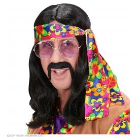 Perruque hippie homme noire avec bandeau