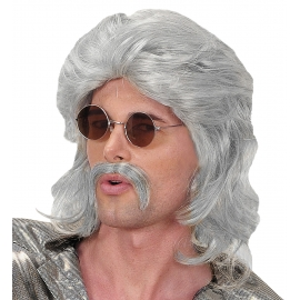Perruque et moustache 70's noire